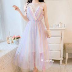Harajuku Fashion, Kawaii Fashion, Girl Fashion, Trendy Dresses, Fashion Dresses, Gown Skirt, Rainbow Outfit, Dress Shirts For Women, Edgy Outfits