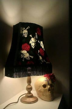 Skull and roses shade. I have some fabric like this!