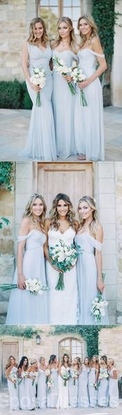 Mismatched Different Styles Chiffon Light Blue Sexy A Line Floor-Length Cheap Bridesmaid Dresses, The long bridesmaid dresses are fully lined, 4 bones in the bodice, chest pad in the bust, lace Different Bridesmaid Dresses, Light Blue Bridesmaid Dresses, Modest Bridesmaid Dresses, Light Blue Dresses, Blue Bridesmaids, Wedding Bridesmaids, Bridal Dresses, Flower Girl Dresses, Bridesmaid Color
