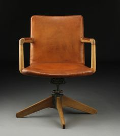 office chair with oak and iron frame seat and back with original - Designer Desk Chairs