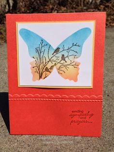 something about stamping: bird song inspiration, Stampin' Up, Beautiful Butterflies Bigz Die, Serene Silhouettes, Petite Pairs, Needlepoint Border Embossing Folder, Calypso Coral, So Saffron, Marina Mist, Early Espresso