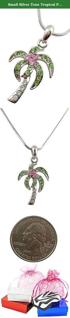 Small Silver Tone Tropical Palm/Coconut Tree Necklace with Clear, Light Pink, and Green Crystals. Jewelry by Glamour Girl Gifts products will arrive to you in either a gift box, organza jewelry bag, satin jewelry bag or velvet jewelry bag.