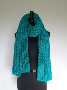 Oversized Extra Long Wool Acrylic Blanket Scarf Emerald Turquoise Green Blue Color Chunky Roving Yarn Men Women Unisex