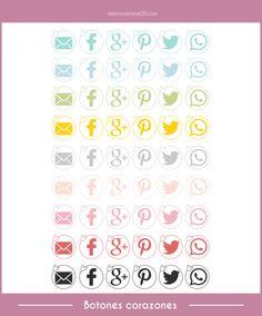 Botones personalizados con corazones. Freebies para compartir tus post en redes sociales. Con #videotutorial