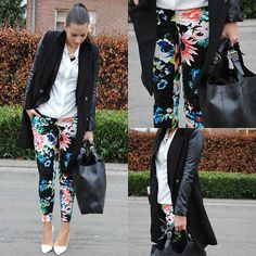 I'd rather have roses on my pants than diamonds on my neck Zara Heels, Romwe, Floral Outfits, Diamond, Coat, Pants, Shirts, Style, Fashion