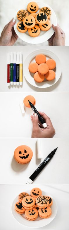 DIY Halloween Macarons - Every Halloween, I love to get together with my girlfriends and make treats for our families and co-workers. This year, I wanted to create a DIY that was both fun and easy to follow. Since we are all obsessed with macarons, I thought these spooky treats were perfect! Get creative and try drawing a variety of different kinds of scary jack-o-lanterns, skulls, spiderwebs, bats, etc.