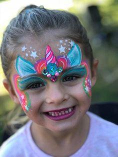51 Unicorn Painting Ideas For Kids - Art Horse Face Paint, Face Painting Unicorn, Kitty Face Paint, Face Painting For Boys, Face Painting Designs, Animal Face Paintings, Animal Faces, The Face, Maquillaje Halloween