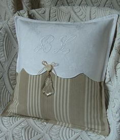 Pillow ~ Detail ~ this gives me the idea on updating a pillow without a lot of effort...or new pillows!!