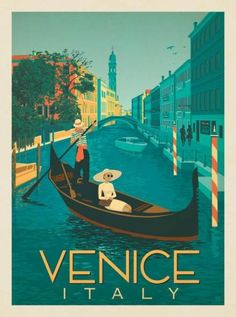Vintage Travel Anderson Design Group – World Travel – Italy: Venice Gondola Ride - Art Deco Posters, Vintage Travel Posters, Vintage Postcards, Retro Posters, Italia Vintage, Vintage Italy, Venice Travel, Italy Travel, Spain Travel