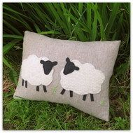 This is a x cushion, ( 14 inches x inches ) complete with feather pad. The background fabric is a soft and tactile woollen fabric, and the sheep have been hand appliqued from a beautifully textured boiled wool. There is a deep envelope . Hand Applique, Wool Applique, Applique Patterns, Anni Downs, Applique Cushions, Sheep Crafts, Sheep Art, Cute Sheep, Sheep And Lamb