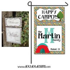 Monogram / Personalized / Custom Garden / Yard Metal Flag / Sign - Outdoor / Tent / Rustic / Happy Campers / Campsite / Camp Sign / Flag