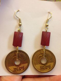 Japanese coin earrings in gold and deep red on Etsy, $12.95