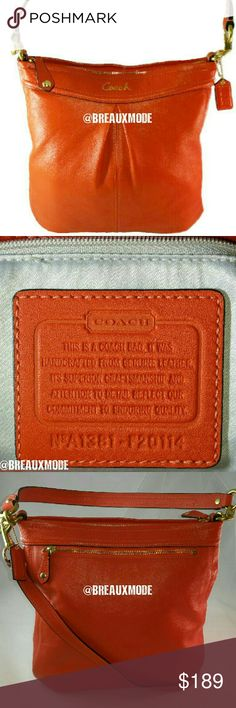 ✴ Coach - Leather Convertible Hobo Crossbody Bag Like new, orange leather convertible hobo hobo crossbody bag.  Authenticity no. A1381-F20114. No stains, rips, smells, scratches. Comes with the crossbody strap.   Measurements Length Depth Width Strap Drop Long strap drop Coach Bags Crossbody Bags