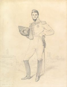 """Ingres """"Portrait of General Louis-Étienne Dulong de Rosnay"""" 1818 Graphite on wove paper"""