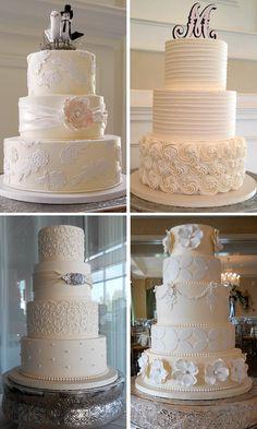 Very Elegant Off-White Wedding Cake Pictures