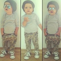 Little boy fashion.. Summer fresh - shorten the sleeves on the grey shirt, and turn those awesome camo pants into cargo shorts or capris.