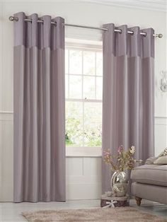 Buy Ella Velvet Header Eyelet Curtains from the Next UK online shop Mauve Living Room, Mauve Bedroom, Silver Bedroom Decor, Purple Bedrooms, Living Room Mirrors, Living Room Decor, Plain Curtains, Curtains With Blinds, Arquitetura