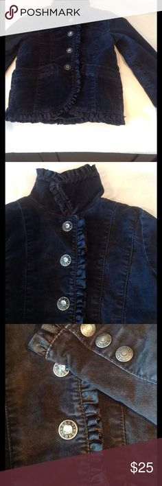 GUESS Premium 4T Velveteen Jacket To die for Guess jacket with ruffles and bling on the buttons. Ruffles are on the cuffs, the front gig line and on the Victorian collar. In very good condition size 4 T Guess Jackets & Coats