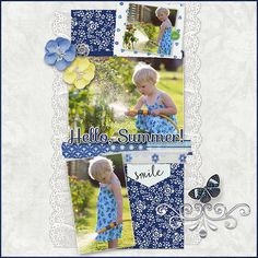 The crisp blues and summer-inspired embellishments in Summer Breeze make it perfect for everything from wedding invitations to vacation layouts. Hello Summer, Girls Club, Summer Breeze, Scrapbook Layouts, Scrapbooking, Wedding Invitations, Gallery, Frame, June