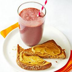 Chocolate-Cherry Smoothie Blend 1 cup low-fat milk with 1/2 cup frozen unsweetened tart cherries and 1 tablespoon unsweetened cocoa powder. Serve with 1 slice toasted whole-grain bread spread with 2 teaspoons peanut butter.