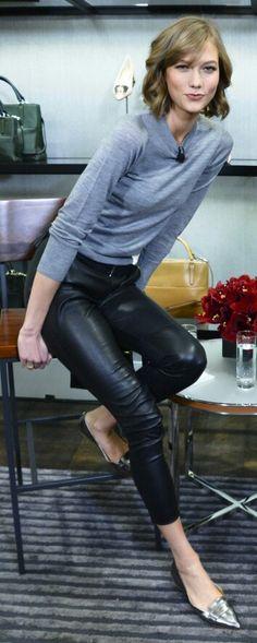 Karlie Kloss leather pants