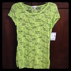 NWT Lime green, sheer, rose top Brand new, never worn top. BONGO Tops Tees - Short Sleeve