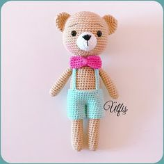 FREE PATTERN Hi amigurumi lovers . I share this little Teddy Bear& pattern with you in English :) Thank you for sharing this p. Crochet Teddy Bear Pattern, Knitted Teddy Bear, Crochet Amigurumi Free Patterns, Crochet Animal Patterns, Crochet Bunny, Stuffed Animal Patterns, Crochet Motif, Diy Kit, Art Japonais