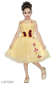 Frocks & Dresses Kid's Girl's Dress Fabric:  Silky Net & Taffeta Sleeves: Sleeves Are Not Included Size: Age Group (8 - 9 Years) - 32 in Age Group (9 - 10 Years) - 34 in Type: Stitched Description: It Has 1 Piece Of Kid's Girl's Dress  Work: Net Work Country of Origin: India Sizes Available: 8-9 Years, 9-10 Years   Catalog Rating: ★4 (225)  Catalog Name: Fabulous Kid's Girl's Dresses Vol 12 CatalogID_367142 C62-SC1141 Code: 343-2710204-858