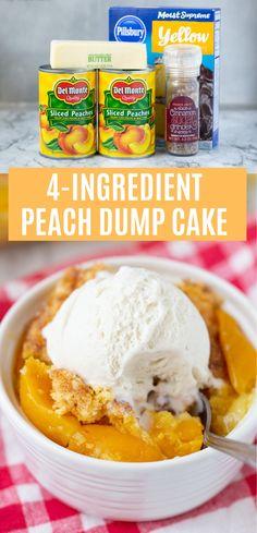 4 Ingredient Peach Dump Cake I LOVE this easy cake mix recipe! 4 Ingredient Peach Cobbler Dump Cake 4 Ingredient Peach Dump Cake I LOVE this easy cake mix recipe! Köstliche Desserts, Delicious Desserts, Dessert Recipes, Awesome Desserts, Homemade Desserts, Pie Dessert, Health Desserts, Yummy Food, Cake Mix Peach Cobbler