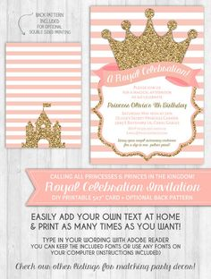 Princess Party Invitations: Blush pink and gold glitter crown - Digital printable file - INSTANT DOWNLOAD
