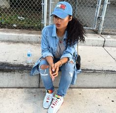 India Love Westbrooks Pretty Girl Dope Swag Urban Streetwear Fashion Style Tommy Hilfiger Designer Brand Cap Boxers Denim Jacket Ripped Jeans Grey Crop Top