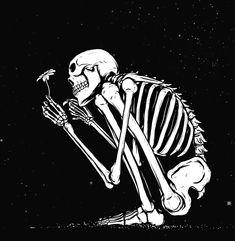 bones and flowers Skeleton Drawings, Skeleton Art, Art Drawings, Skeleton Tattoos, Skeleton Flower, Skull Tatto, Skull And Bones, Aesthetic Art, Vintage Cartoon