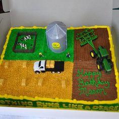 Tractor Birthday Cakes, 4th Birthday Cakes, Fourth Birthday, 4th Birthday Parties, Boy Birthday, Tractor Cakes, Boys First Birthday Party Ideas, Cool Birthday Cards, Farm Cake