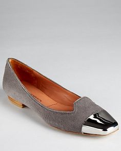 Sigerson Morrison Flats - Silver Tipped Loafer in grey calfhair   @Bloomingdale's