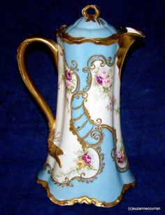 Antique Haviland Limoges Pastel Blue Chocolate Pot w Roses & Gold Ranson Blank #HavilandLimoges