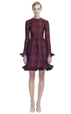 Valentino Broccato Check Long Sleeve Dress
