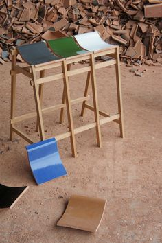 Stools and Benches Made of Discarded Roof Tiles by Tsuyoshi Hayashi