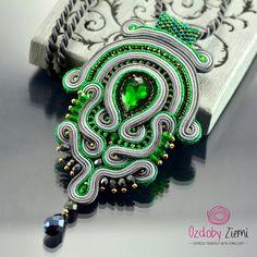 Soutache Pendant Green Pendant Green and Graphite Pendant