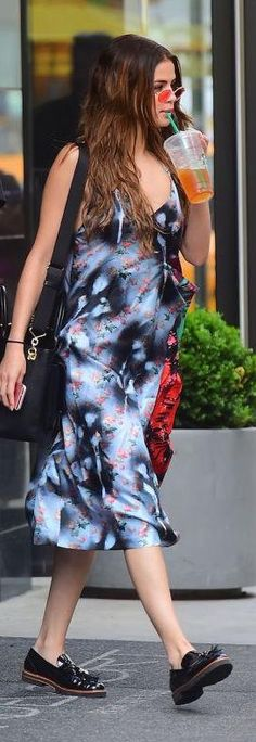 #SelenaGomez  out in New York City, in #acnestudios dress and #stuartweitzman loafers! #outandabout #dailylook #streetstyle from @Celeb_StyleGuide's closet