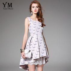 YuooMuoo 2017 New Arrival Party Dress Women European Fashion Sleeveless  Trumpet Cute Lace Patchwork Dress Cute Women Clothing 0d0c9ef2b9fb