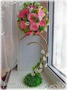 Flower Crafts, Diy Flowers, Flower Vases, Flower Decorations, Fabric Flowers, Paper Flowers, Large Flower Arrangements, Artificial Floral Arrangements, Handmade Crafts