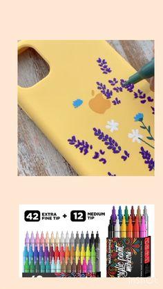 Diy Crafts Hacks, Diy Arts And Crafts, Paint Pens, Paint Markers, Diy Phone Case Design, Posca, Diy Case, Diy Canvas Art, Diy Painting