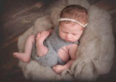 GREY Newborn Overall Suspender Pants Knit by SquishyBabyStuff