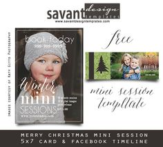 Free Winter Mini Session Template for photographers, wishing you all much success in your Winter/Christmas Season.  Test Drive a Savant Design Template | Photoshop templates and marketing products for photographers by Savant Design
