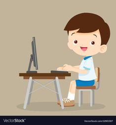 Cute student boy working with computer vector image on VectorStock School Cartoon, Cartoon Boy, Cartoon Pics, School Clipart, Kids Vector, Hypebeast Wallpaper, School Frame, Online Drawing, Watercolor Images