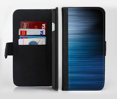 The Dark Blue Streaks Ink-Fuzed Leather Folding Wallet Credit-Card Case for the Apple iPhone 6/6s, 6/6s Plus, 5/5s and 5c from DesignSkinz