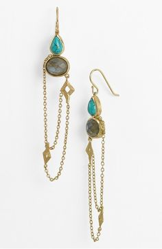 """Melinda Maria """"Sienna"""" drop earrings 14kt gold with turquoise and labradorite"""