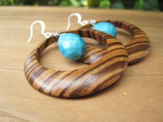Wood and Turquoise Earrings  Zebrawood  by inbloomdesigns on Etsy, $30.00