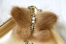 Vintage bijoux années 50 vison fourrure strass faux perle papillon broche/pin