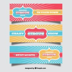 Vintage circus show banners Free Vector